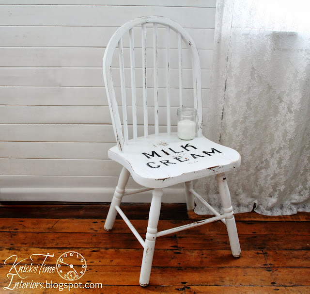 Upcycled Vintage White Chair Milk and Cream Company via Knick of Time