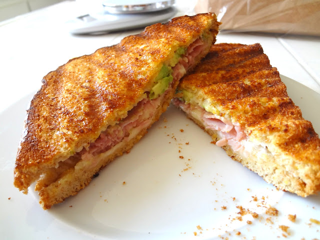 ham and cheese panini with avocado