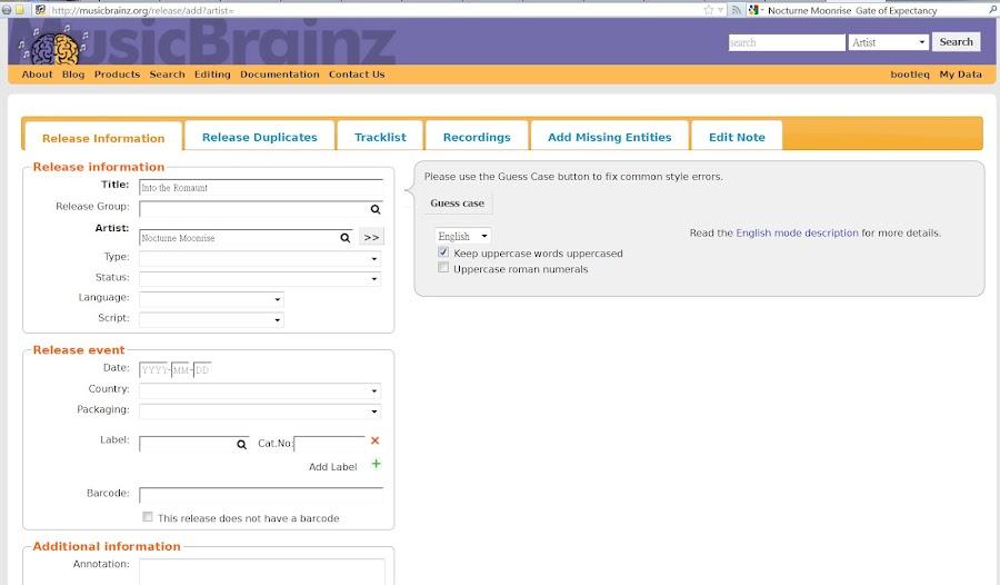 MusicBrainz 的網頁編輯介面