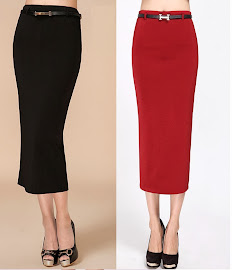 Belted Three-Quarter Midi Skirt