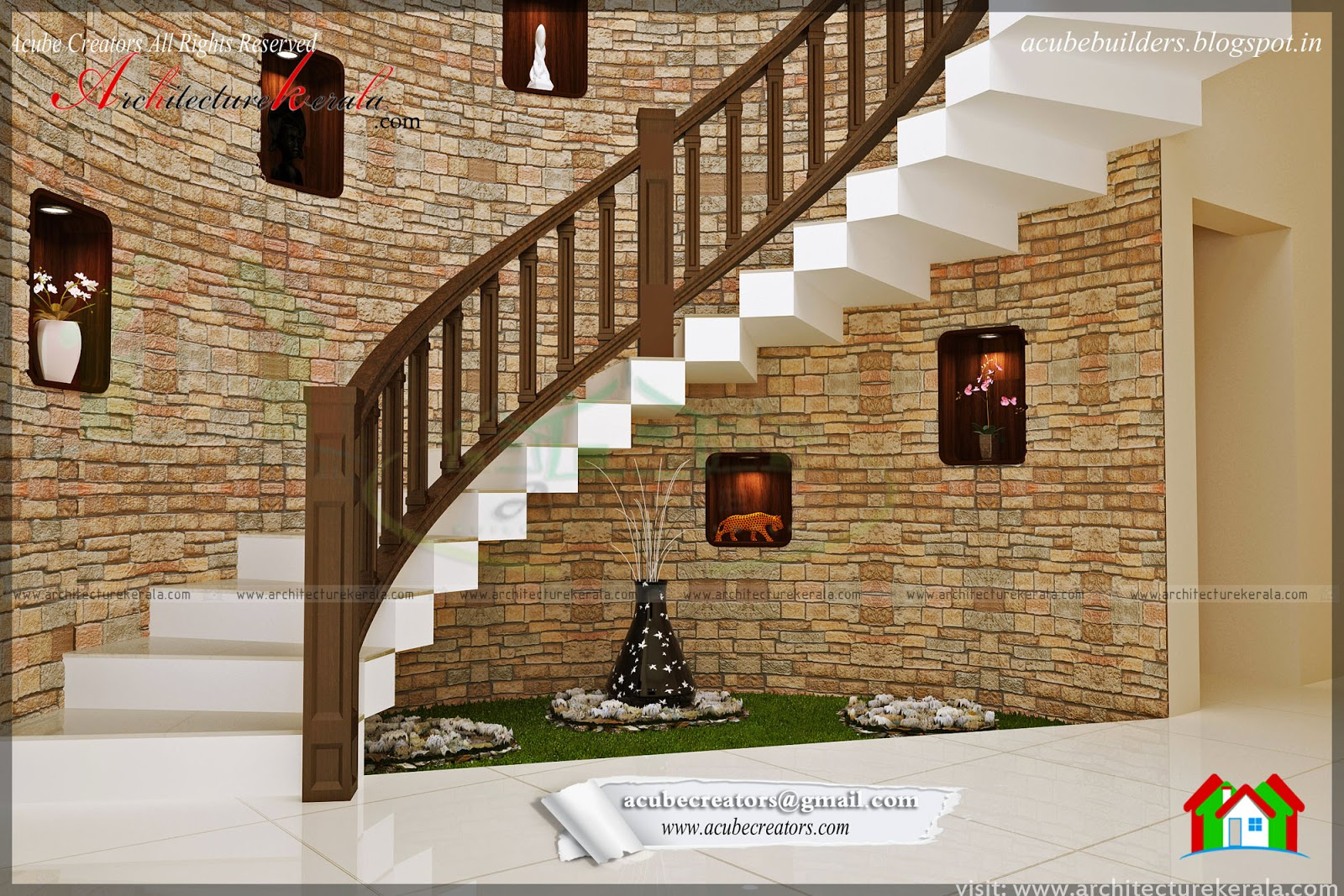 Beautiful stair interior design architecture kerala for Kerala homes interior designs