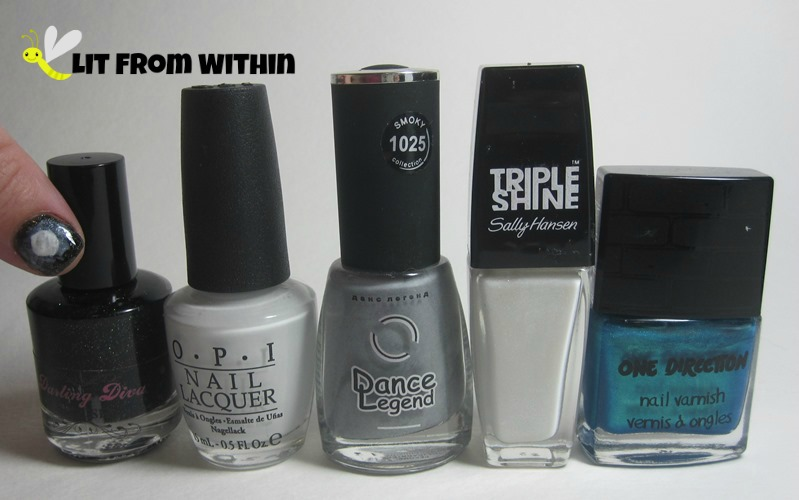 Bottle shot:  Darling Diva Polish What You Do For Money Honey, OPI My Boyfriend Scales Walls, Dance Legend Grey Britain, Sally Hansen Triple Shine Great White, and One Direction NaNaNa