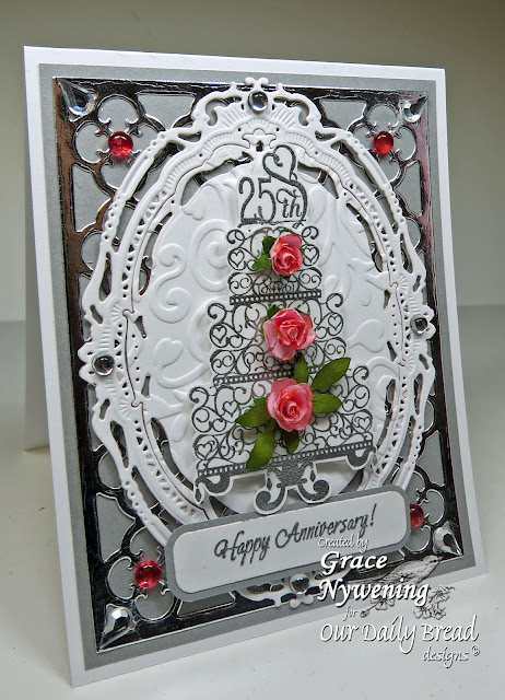 ODBD stamps, Anniversary Blessings, All Occasion Sentiments, Quatrefoil Pattern die, designed by Grace Nywening