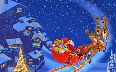 Santa Claus con sus renos Santa flying Christmas