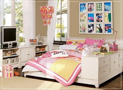 habitación toques rosa para adolescente