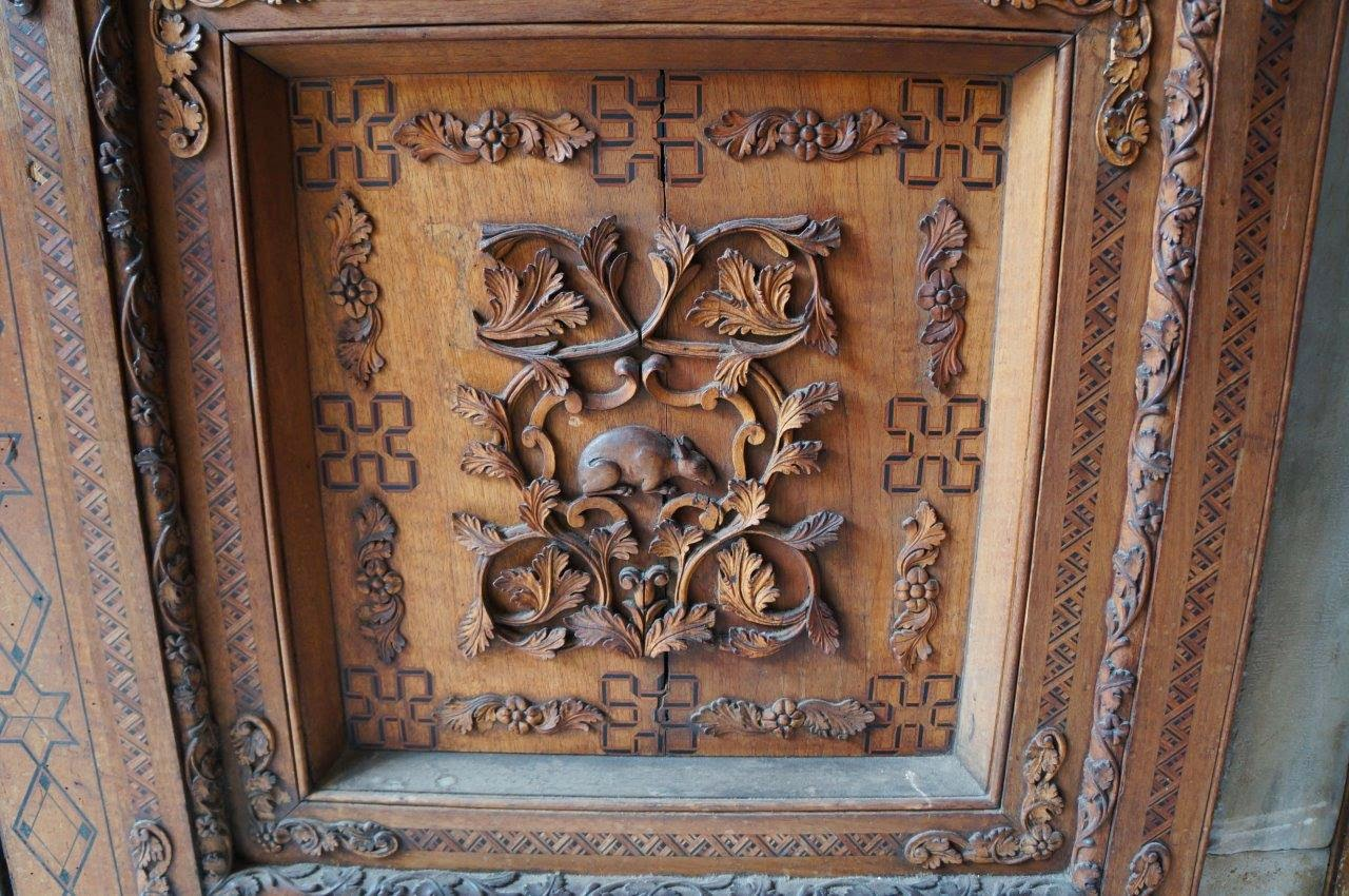 Rat carving on the door to the beautiful Cappella Palatina in Palermo Sicility Italy.