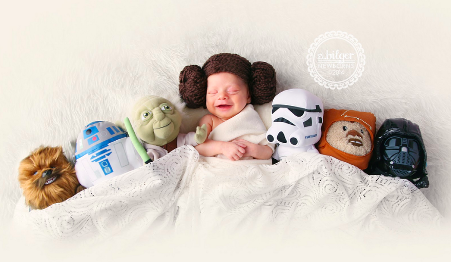 #1 Baby Princess Leia - 22 Geeky Newborns Who Are Following In Their Parents' Nerdy Footsteps