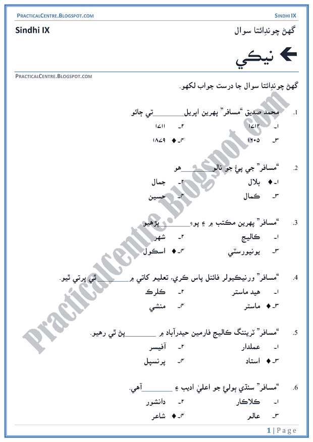 neki-multiple-choice-questions-sindhi-notes-ix