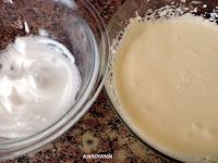 claras montadas y mezcla de queso