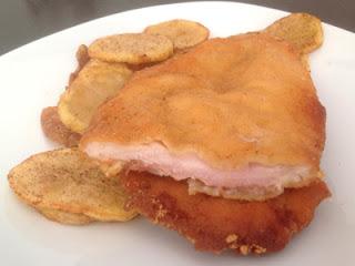 Pollo empanado y relleno de jamón serrano y queso