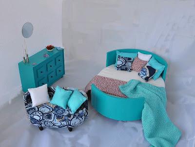 dormitorios en turquesa y blanco