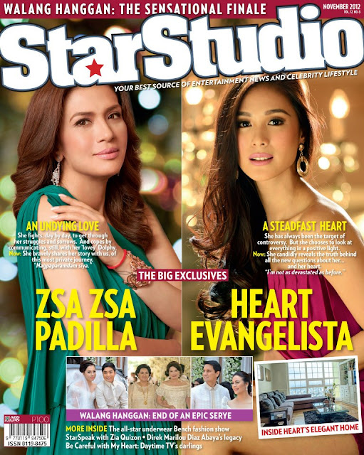 Zsa Zsa Padilla and Heart Evangelista Cover StarStudio Magazine November 2012 Issue