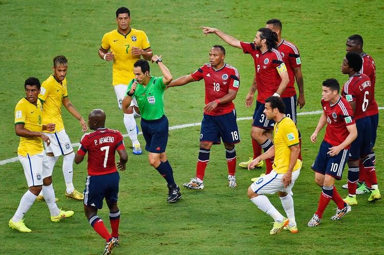 """FÚTBOL Mundial de Brasil-- Brasil 2-1 Colombia. """"A semis con el miedo en el cuerpo"""""""