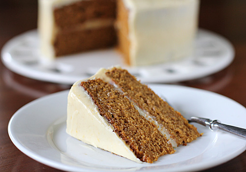 The Galley Gourmet's Pumpkin Cake with Orange-Cream Cheese Frosting