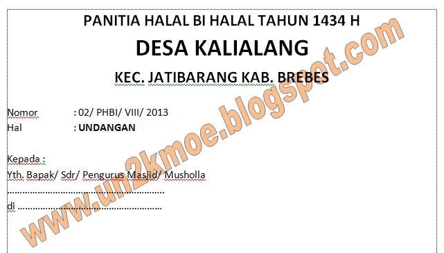 Contoh surat undangan halal bi halal dan pengajian