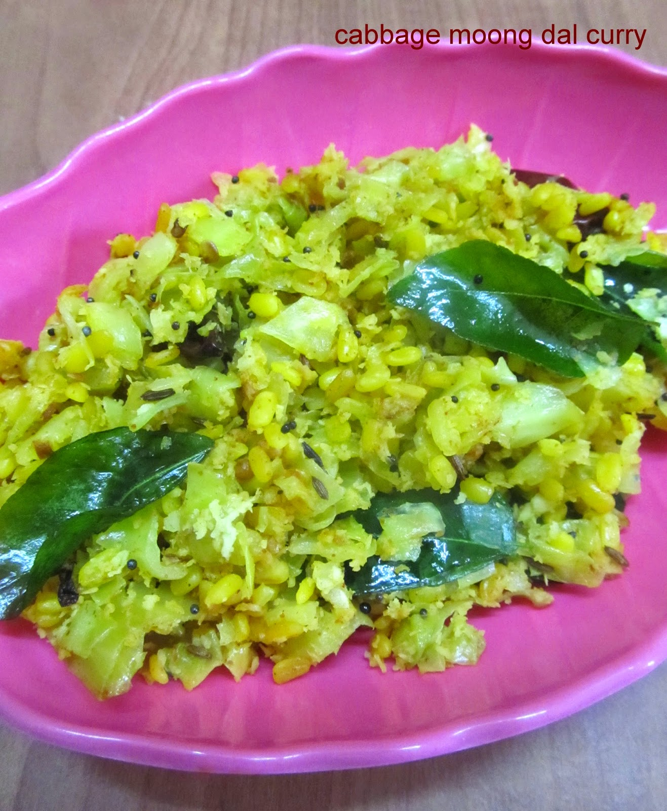 cabbage moong dal curry