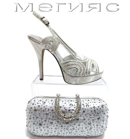 Сребърни сандали на платформа с висок ток  + портмоне с камъчета
