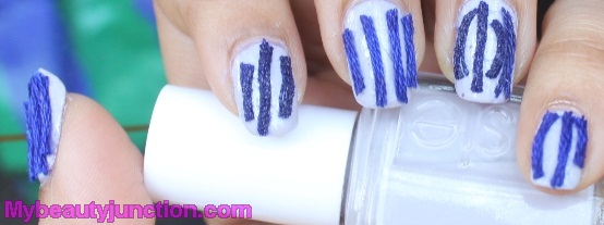 Thread nail art with Essie St Lucia Lilac polish