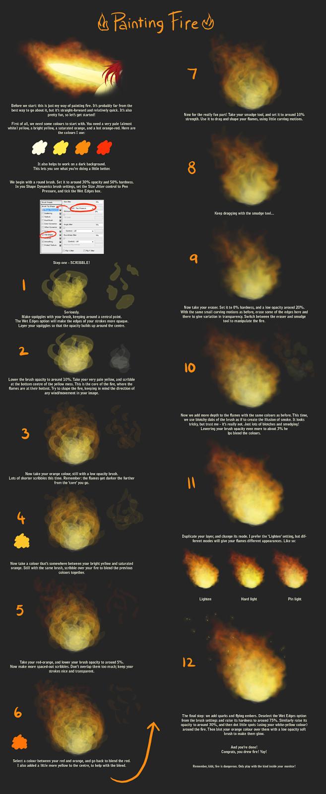 Como Desenhar Mangá: Tutorial de pintura de Fogo - how to paint fire