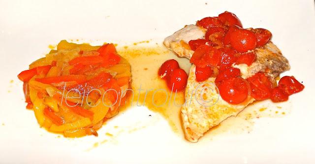 lei: orata ai pomodori con tortino di peperoni