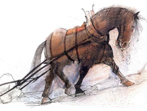 Boxer trabajando en el molino, ilustración de Ralph Steadman para Rebelión en la granja - Cine de Escritor