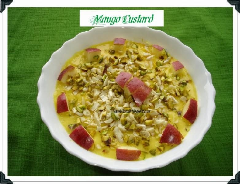 Mango Custard made on stove-top