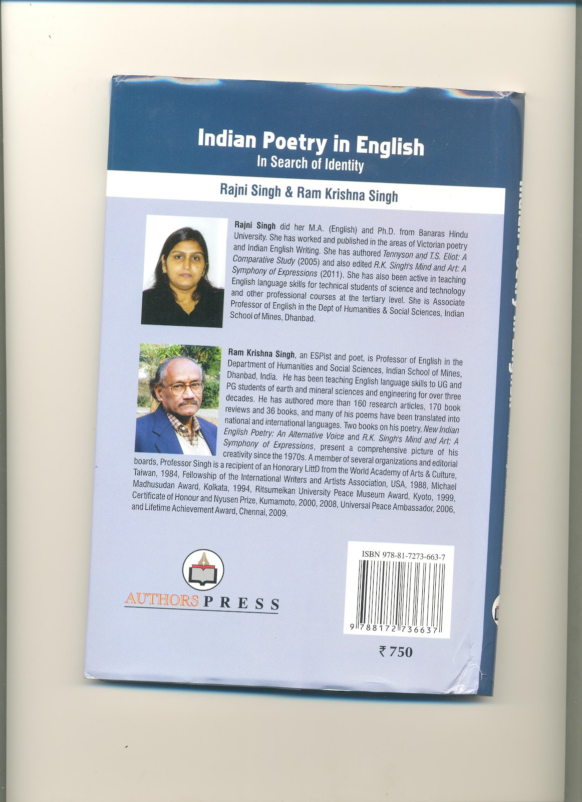 r k singh n english poet n poetry in english in the book contains 22 essays by young researchers who explore several new voices including mani rao i k sharma r k singh d c chambial