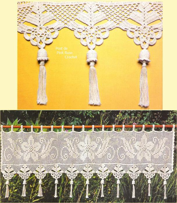 Amazon.com: Unique hand crochet lace White Cafe Curtain/Valance