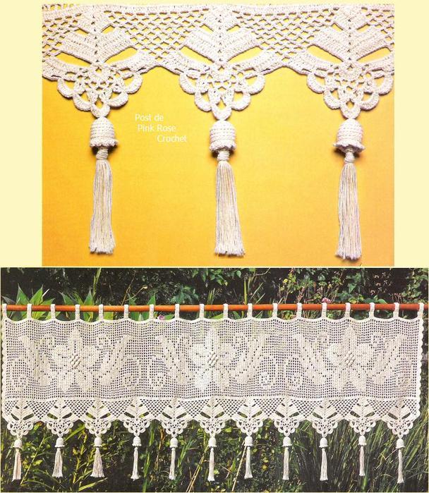 Amazon.com: Unique hand crochet lace White Cafe Curtain/Valance