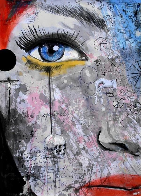 Pintura de ojos azules
