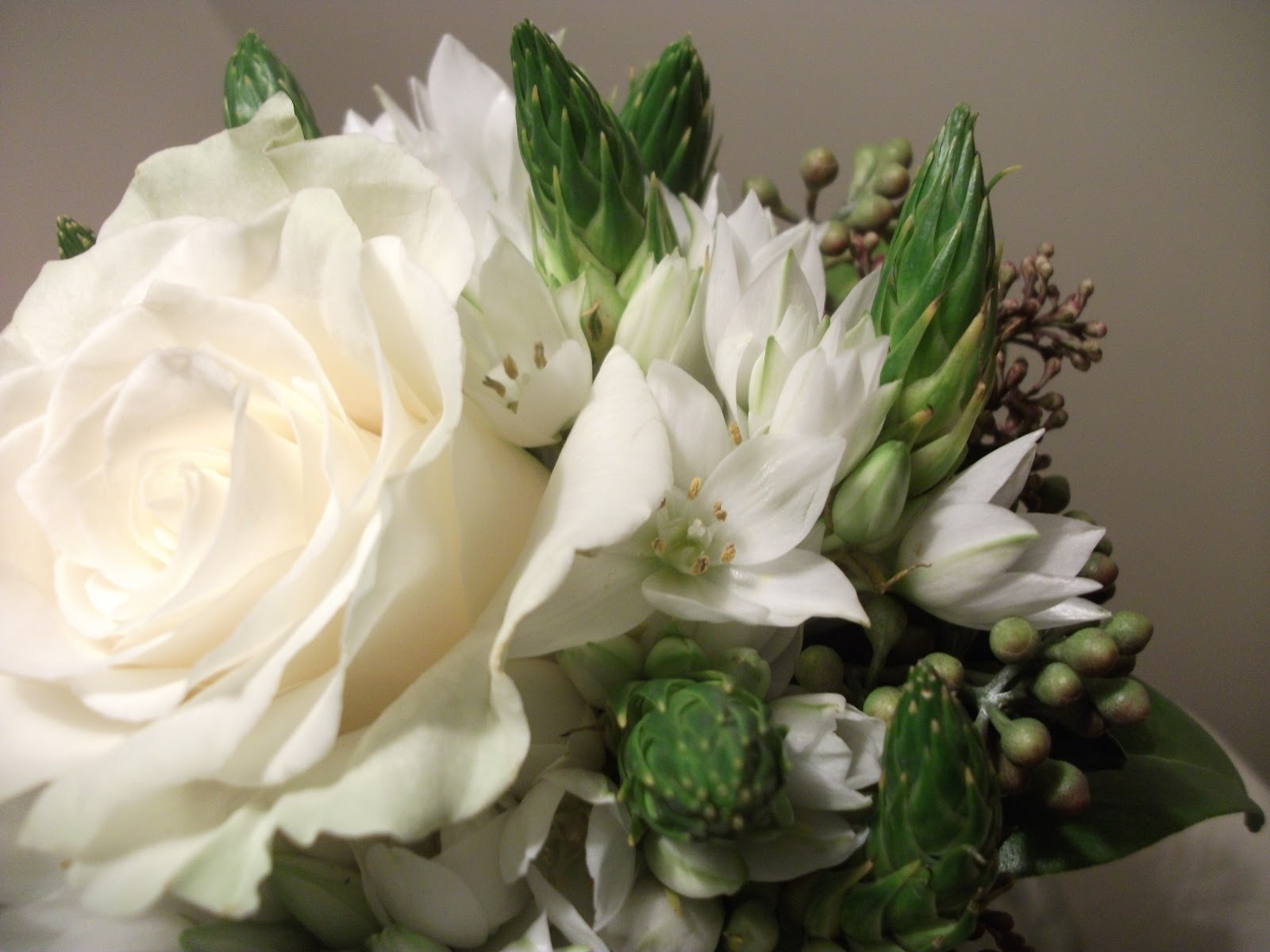 Mini wedding bouquet with one white rose and multipruposed its ideal for a petite bride bridesmaid or flower girl very simple composition but elaborated design light and elegant easy to carry it has one white izmirmasajfo