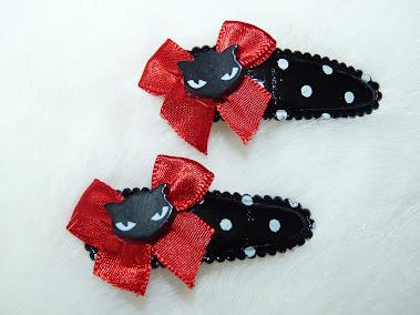 black kitty polka dot haircandy