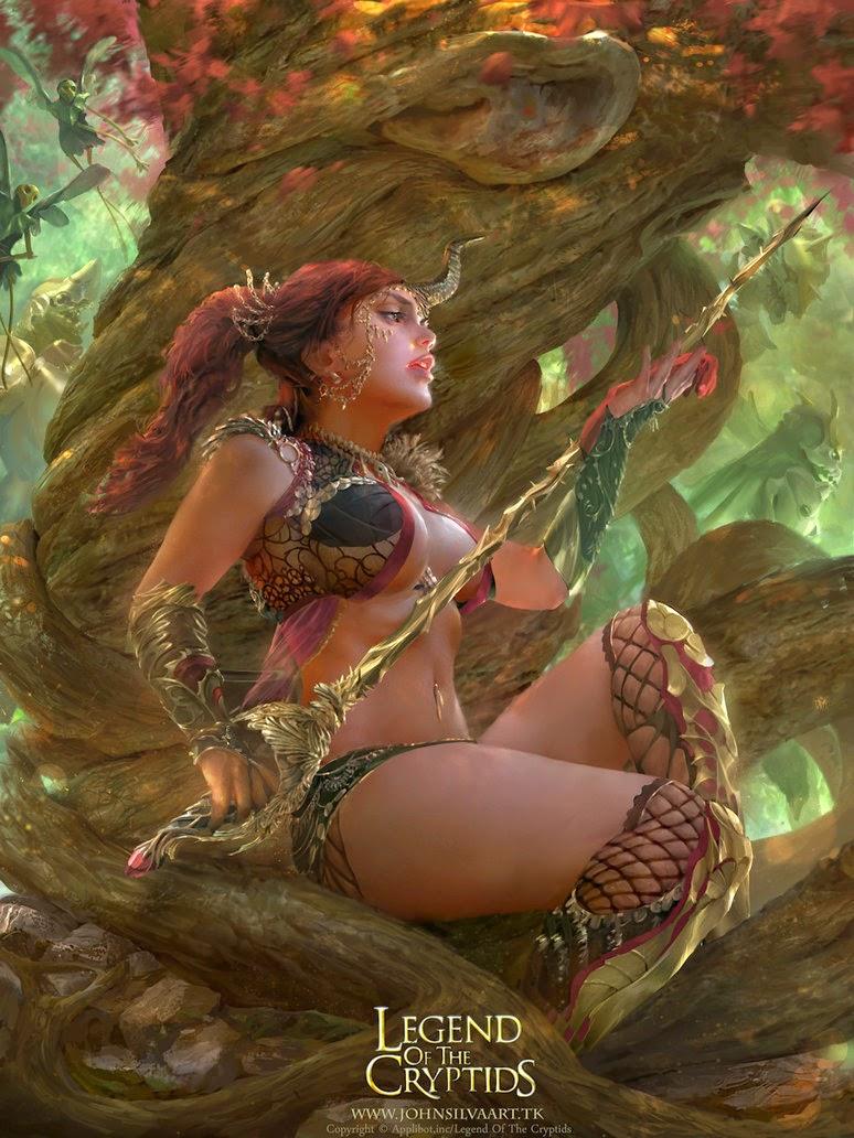 illustration de John Silva représentant une jeune guerrière nettoyant son épée sous un arbre