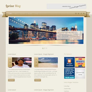 Larisa Mag blogger template. seo blogger template. magazine style template blogspot. download 3 column footer blogger template