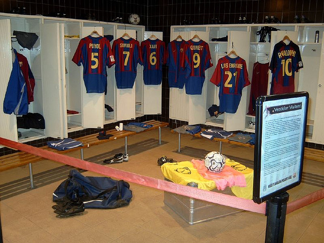 nou cmp stadium dressing room barcelona
