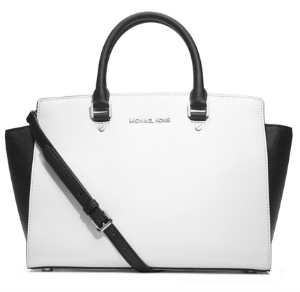 michael kors selma black and white handbag