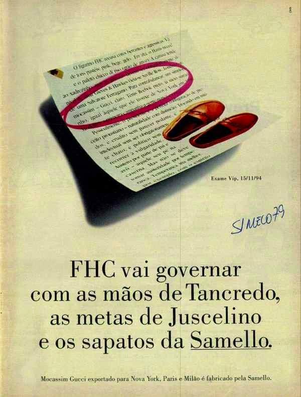 Propagada dos sapatos Samello em que afirmava que Fernando Henrique Cardoso usava o produto.
