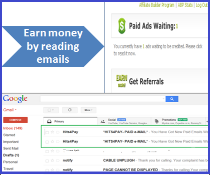 hits4pay,email reading, earn money