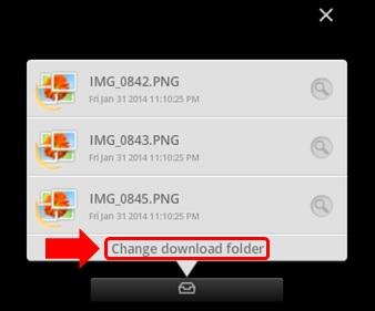 [Change download folder]をクリック
