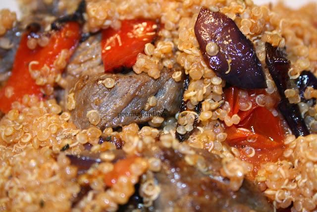 Quinoa Bake with Roasted Vegetables and Beef