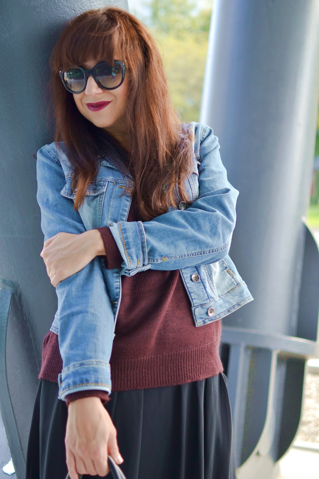 My first autumn look_Katharine-fashion is beautiful_Denim bunda_Zelené pančuchy_Rock style_Katarína Jakubčová_Fashion blogger