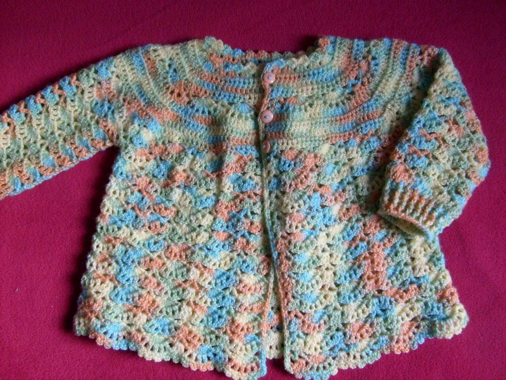 Chaleco a crochet para niña de 12 a 18 meses
