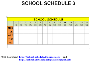 School schedule - printable template