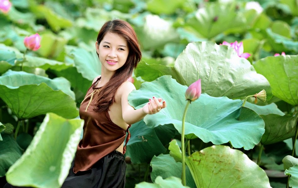 Vietnam Beautiful Girls Bare Back In The Lotus Ponds The
