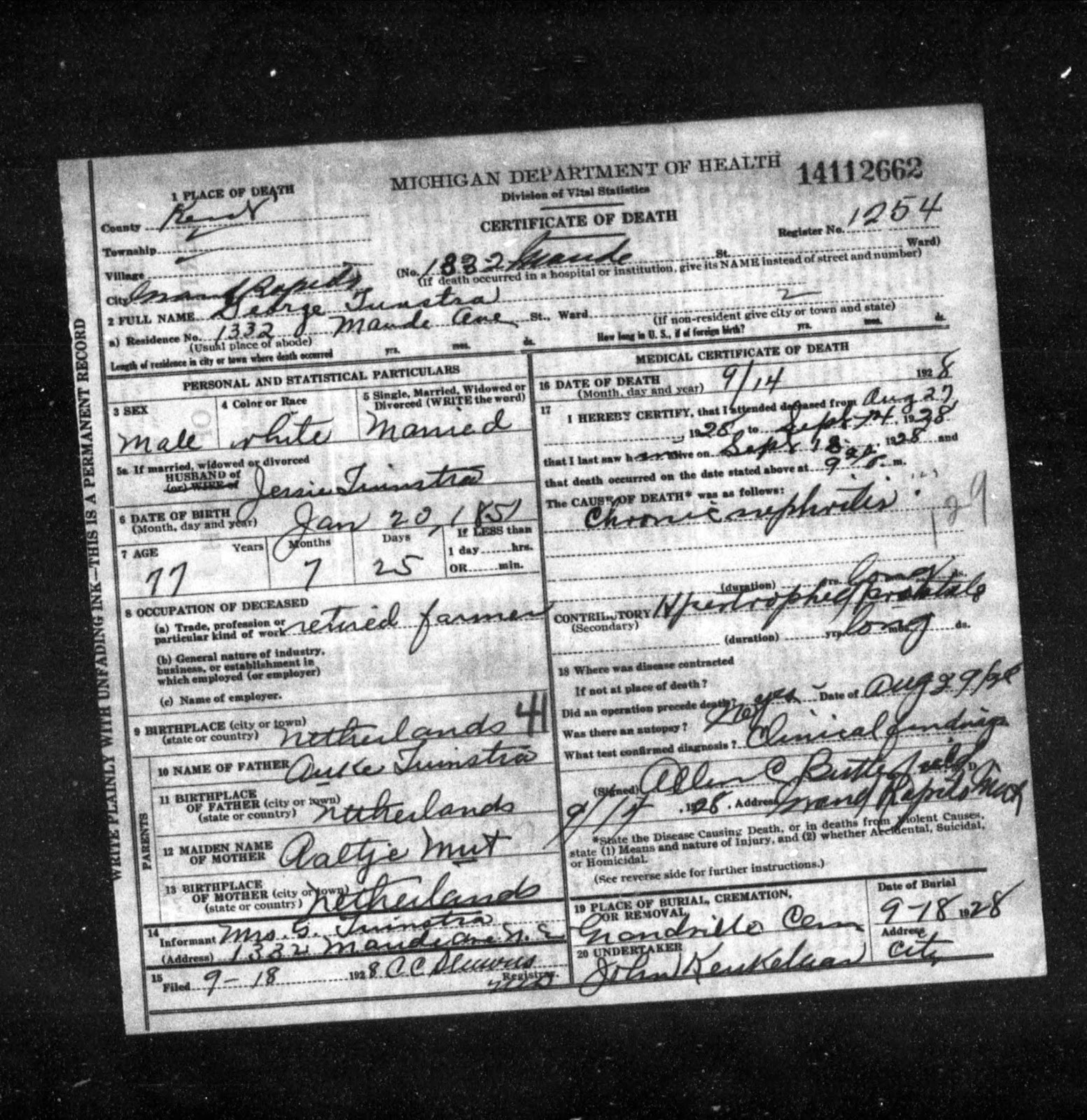 Ancestories the stories of my ancestors tuesdays tip shh a death certificate of george tunstra which was sitting in his genealogy folder on my hard drive 1 1betcityfo Choice Image