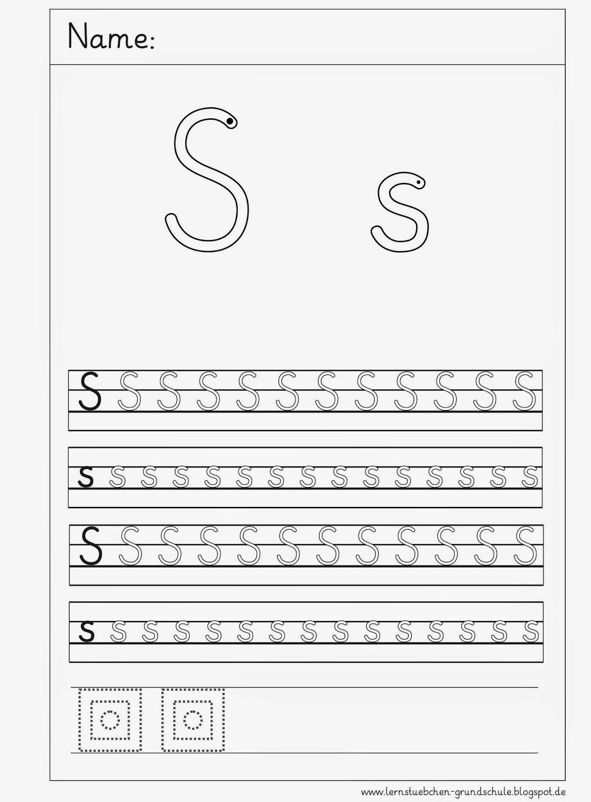 Arbeitsblätter Buchstabe S : Lernstübchen schreibblätter zum s