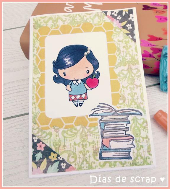 "scrap Postal para el reto TGF FFF September ""Back to school"" handmade carved stamp"