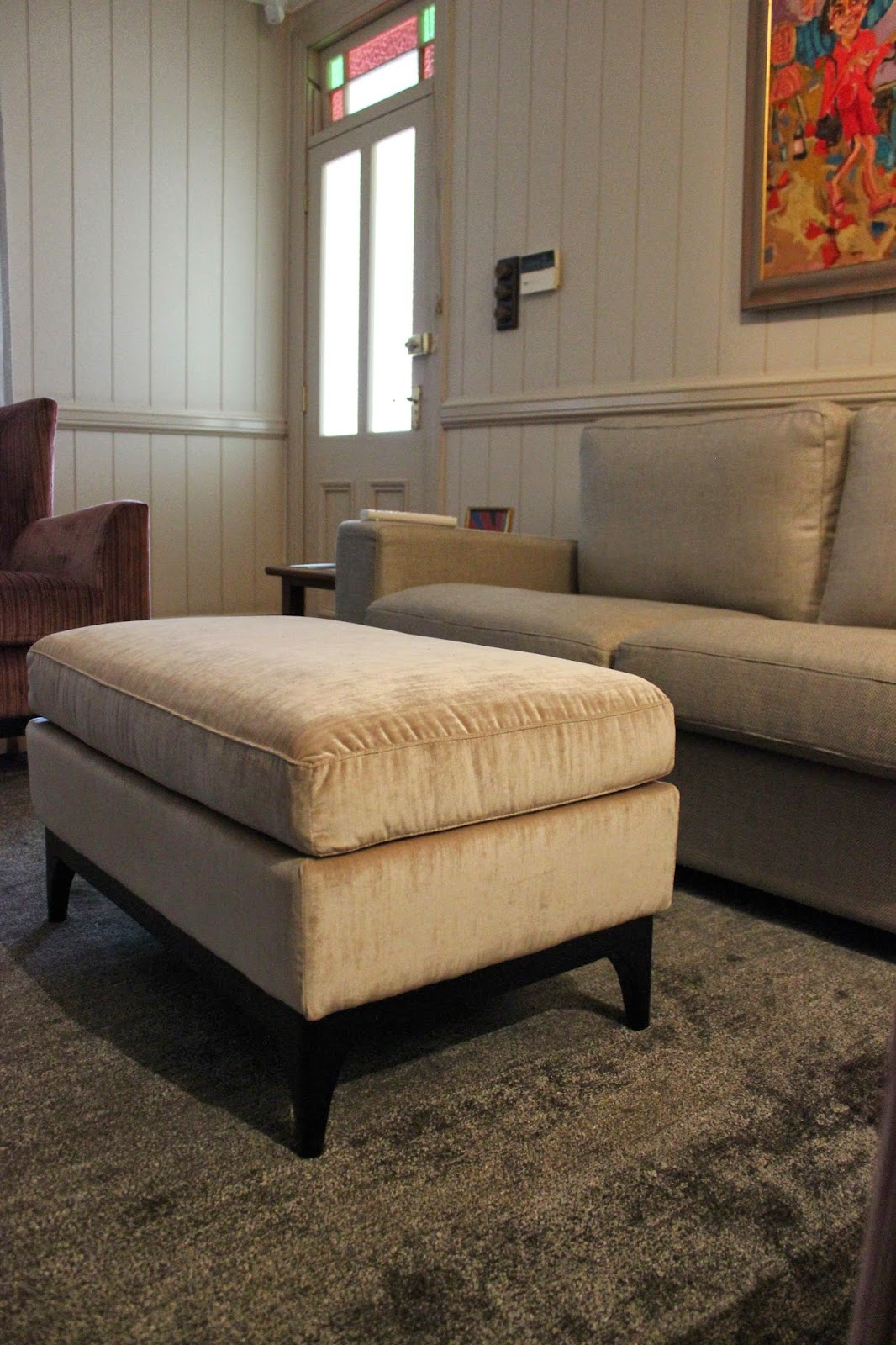 custom made ottoman in european fabrics via Charcoal Interiors Fortitude Valley