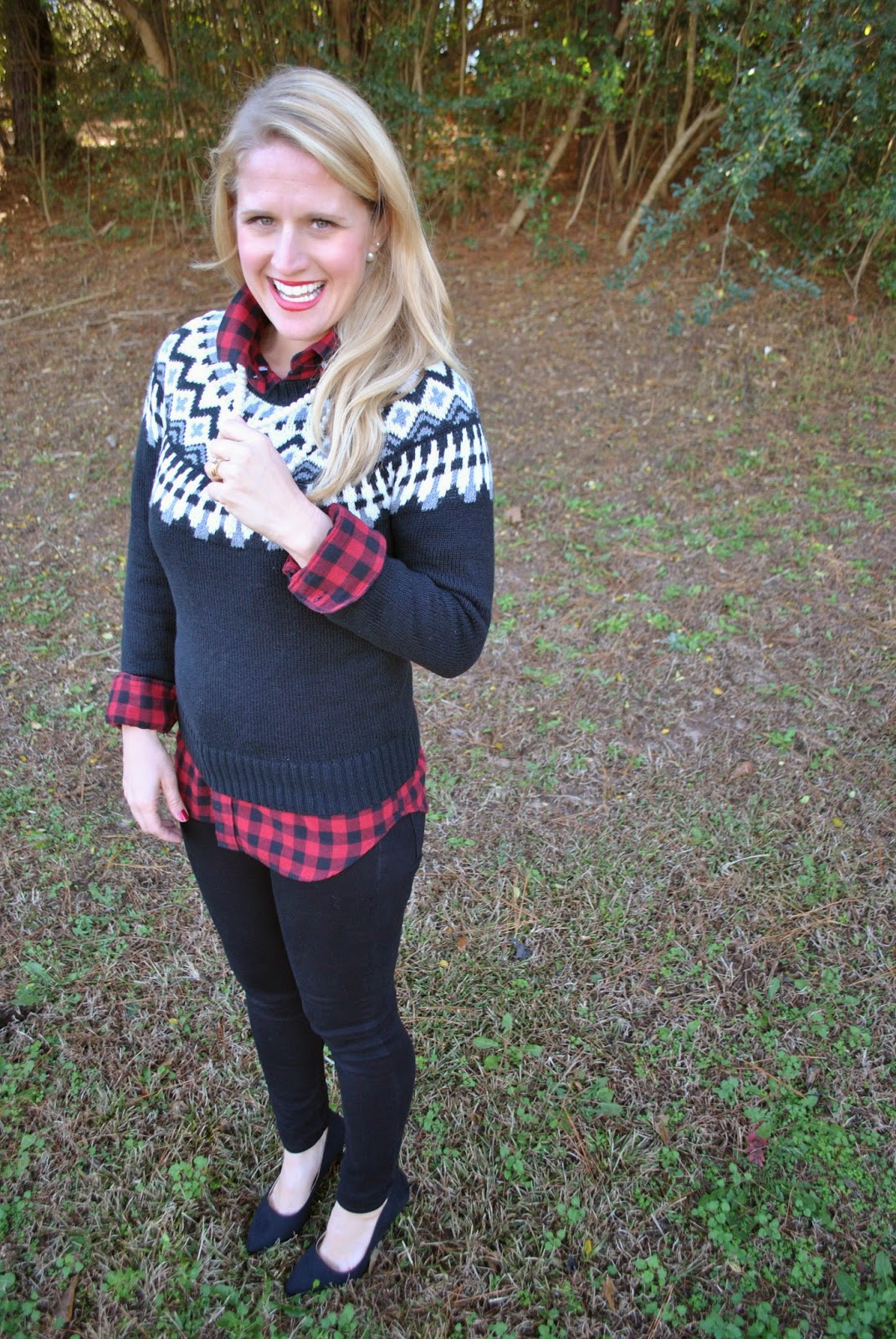 Holiday Style J Crew Herringbone Vest Buffalo Check Flannel Shirt Fair Isle Sweater~The Army Life of an Aviators Wife