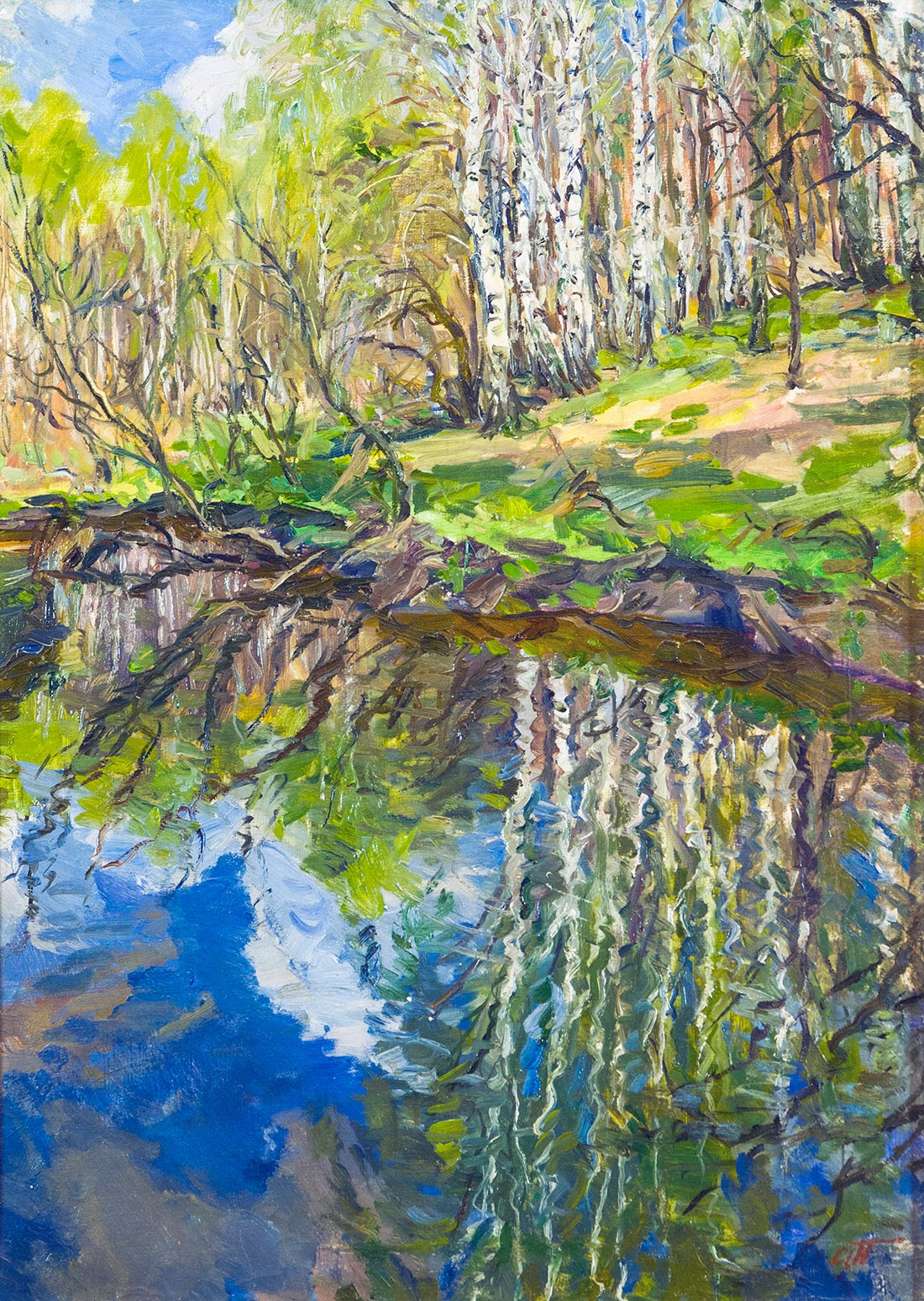 Arkady Plastov May Reflection of  irches